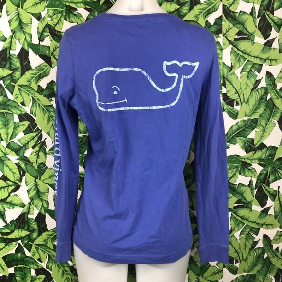 Vineyard Vines Tops - Vineyard Vines Blue Whale Back Pocket Long Sleeve